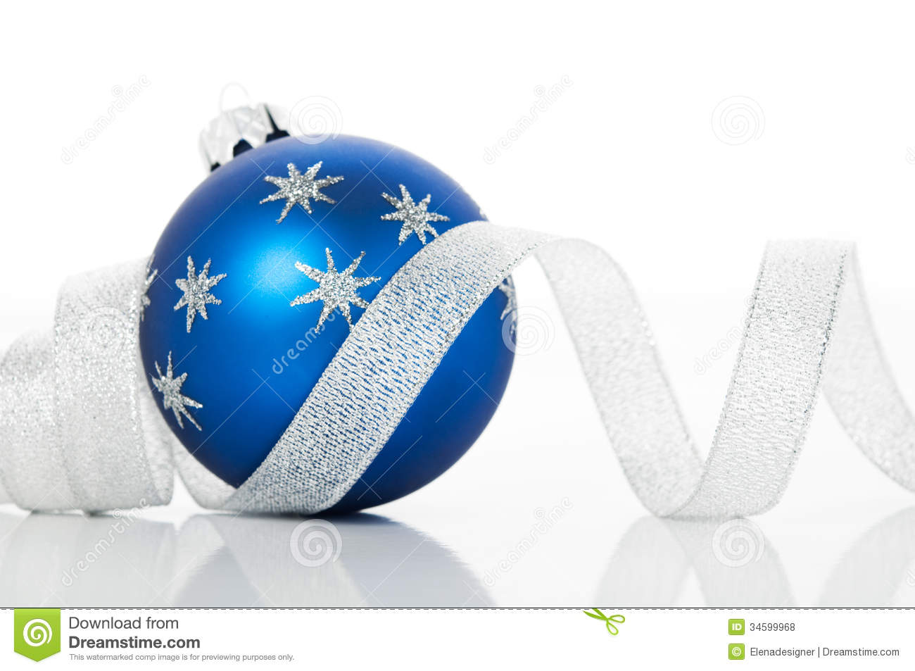 Blue Xmas Ball And Silver Ribbon On White Background