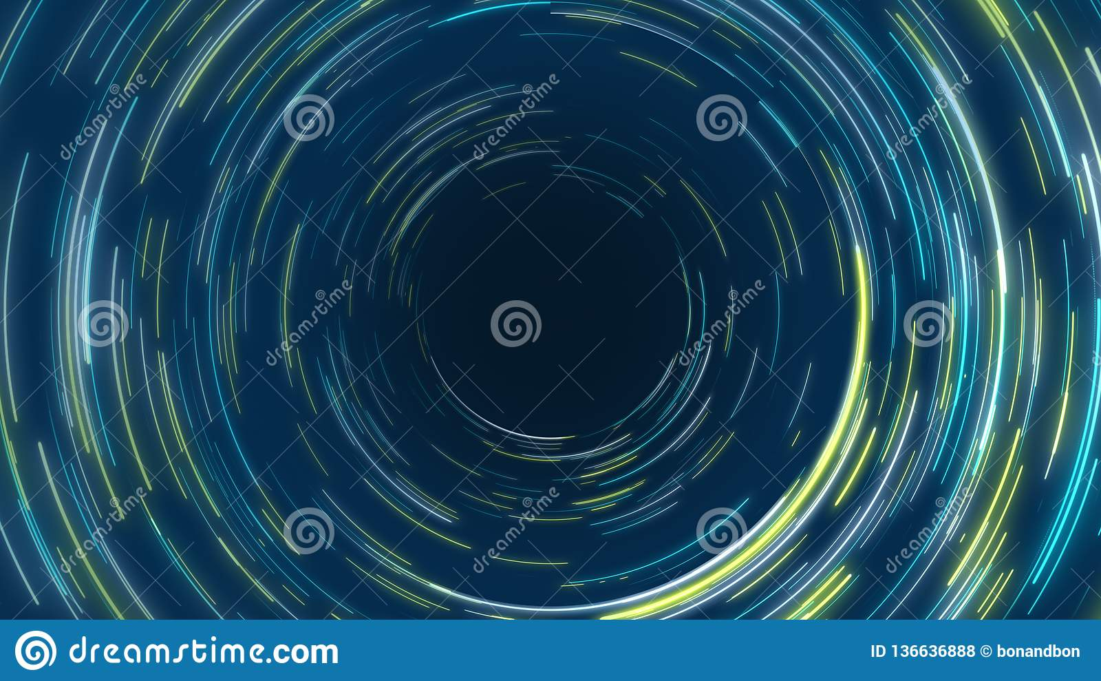 Blue and yellow abstract tunnel circular radial lines effect background
