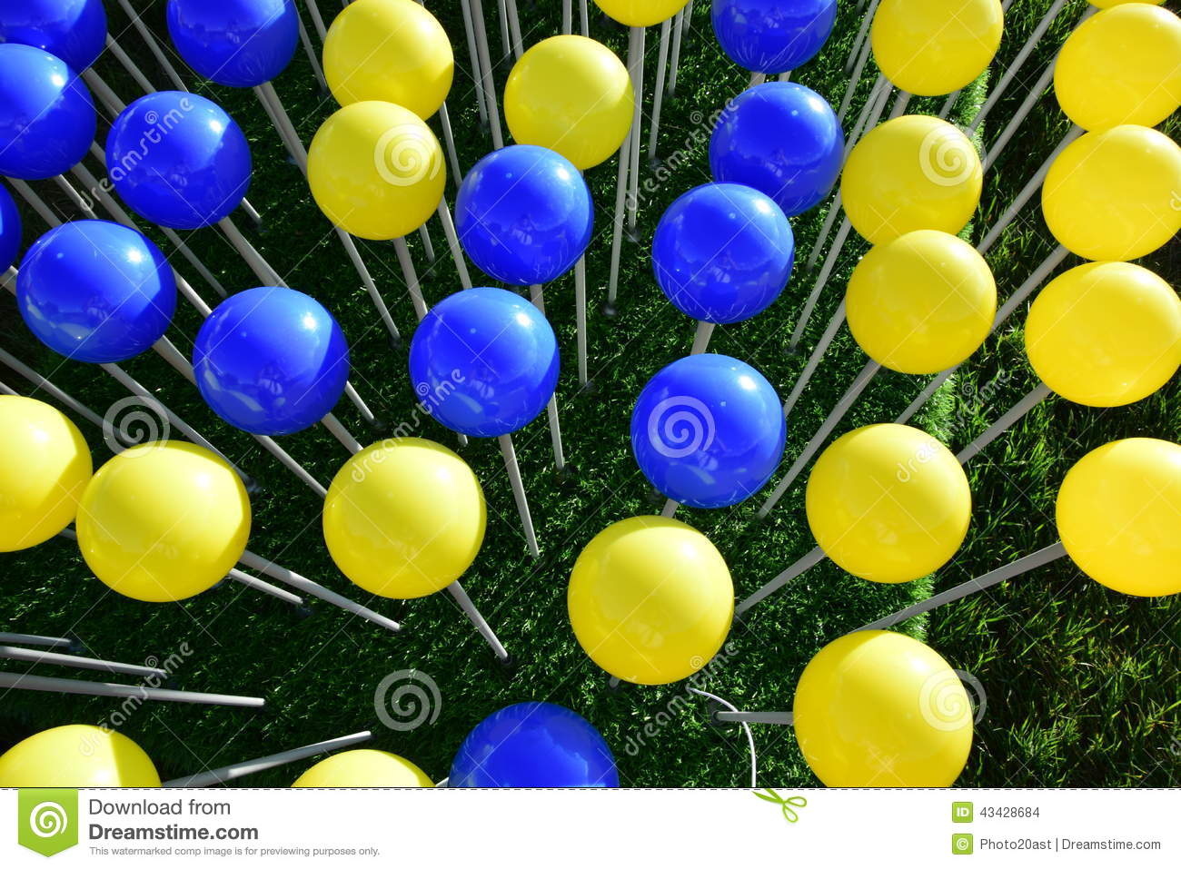 blue and yellow balloons stock photo image of decorative 43428684. Black Bedroom Furniture Sets. Home Design Ideas
