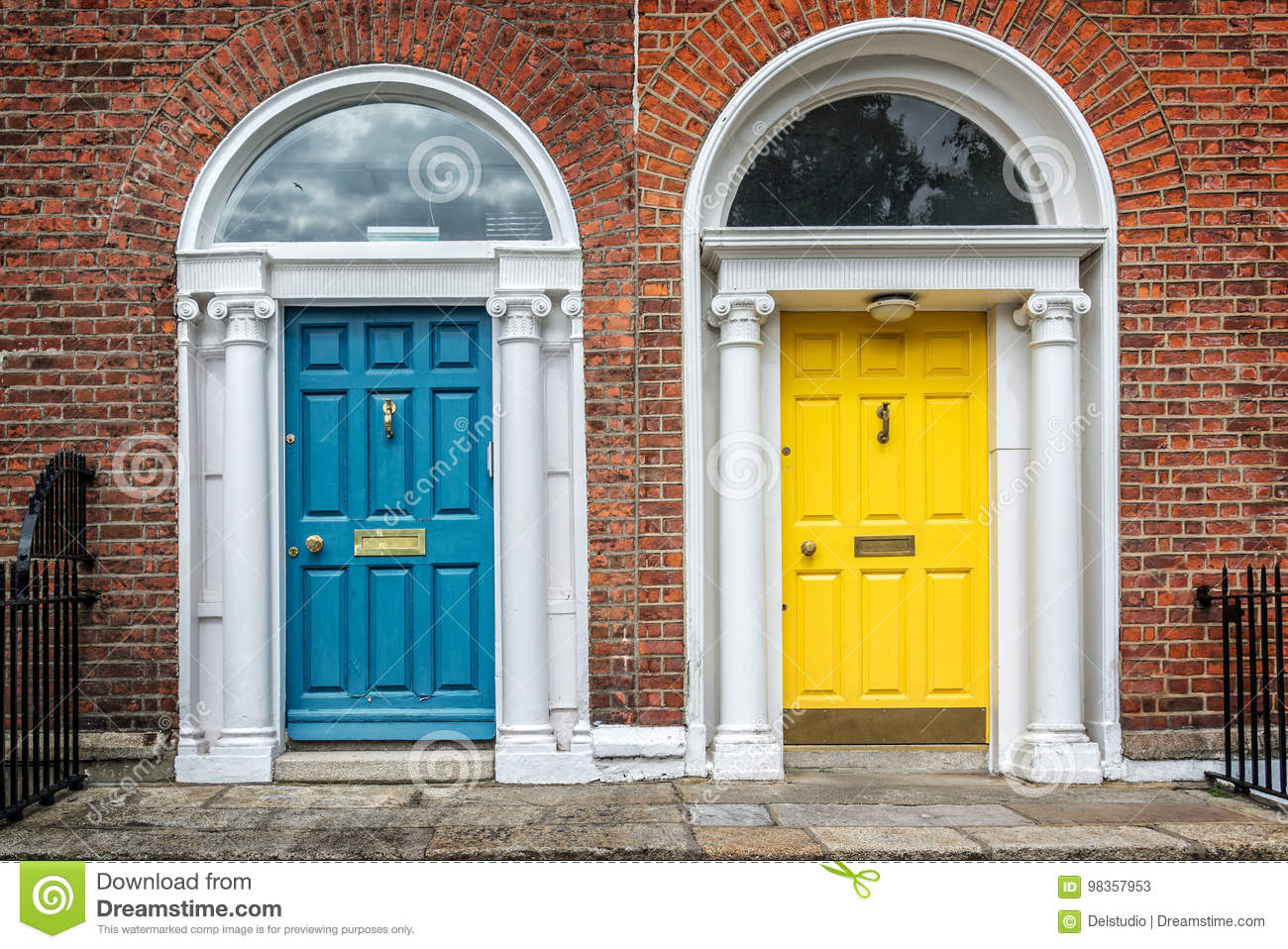 Blue and yellow classic doors in Dublin example of georgian typical architecture of Dublin, Ireland