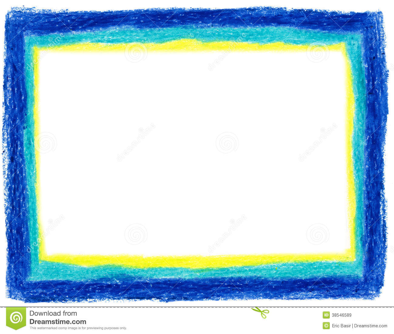 Blue and yellow crayon frame stock illustration - Marco de fotos multiple ...