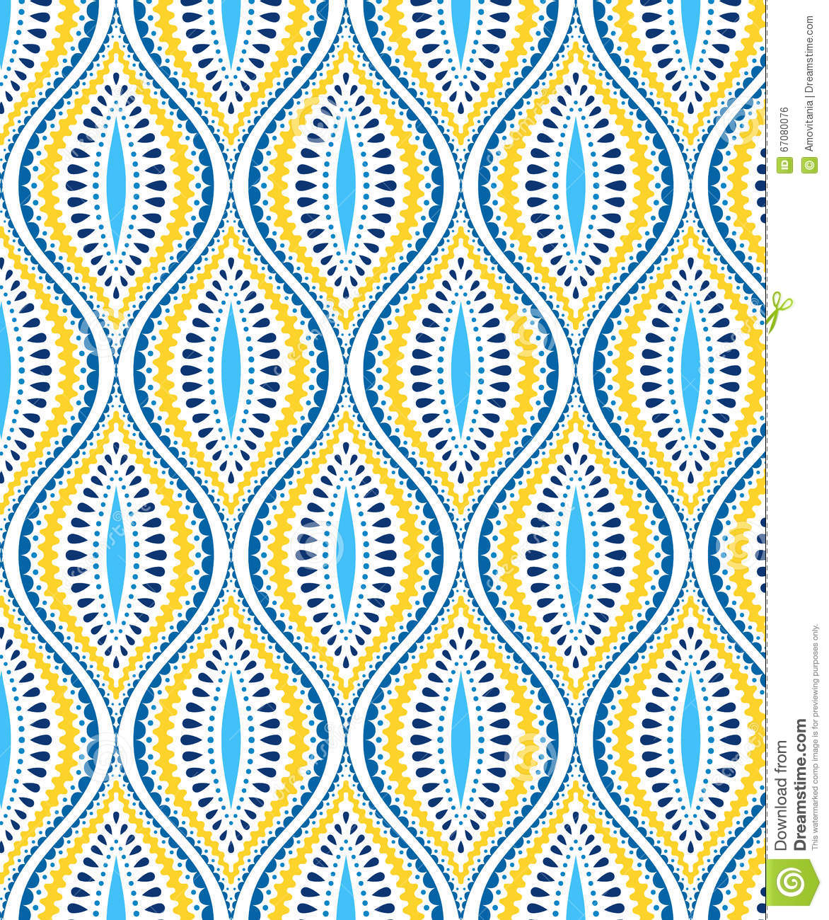 Blue And Yellow Decorative Pattern Stock Vector Image
