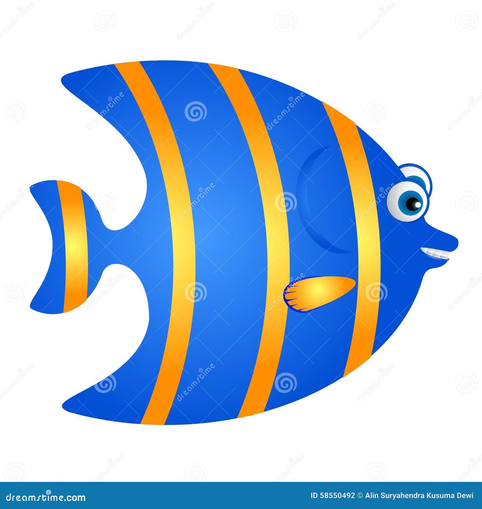blue and yellow fish cartoon stock vector illustration of marine