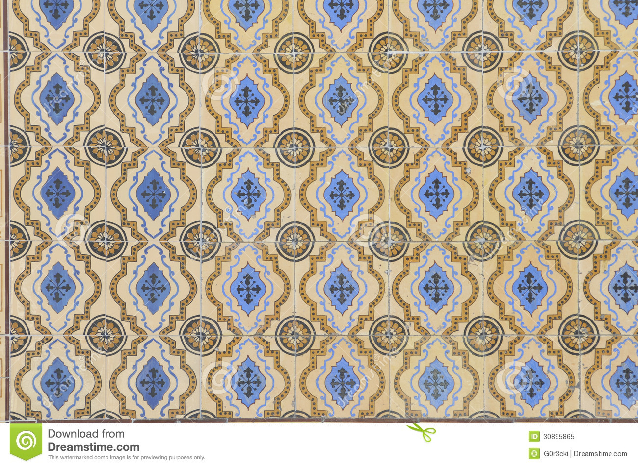 Portuguese Blue and Yellow Glazed Tiles, Textures, Craft