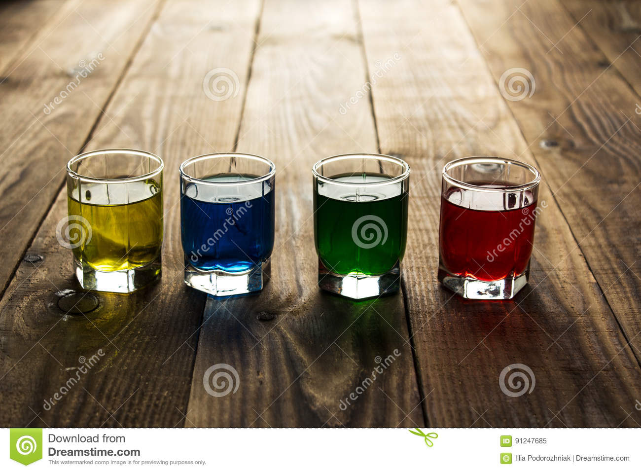 Blue Yellow Green Red Alcohol Shot Drinks Stock Image Image Of