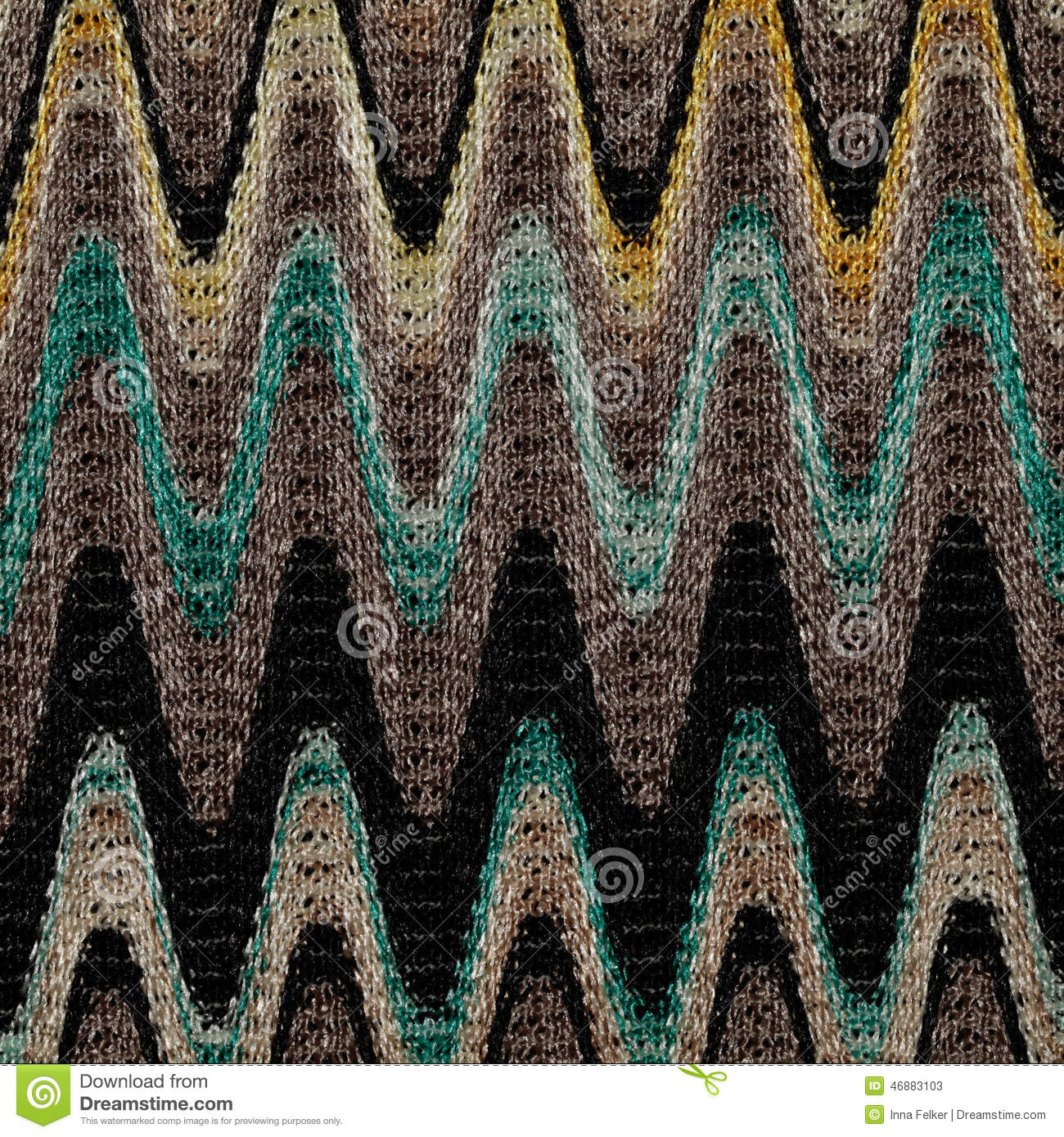 Blue, yellow and grey waves lines pattern fabric