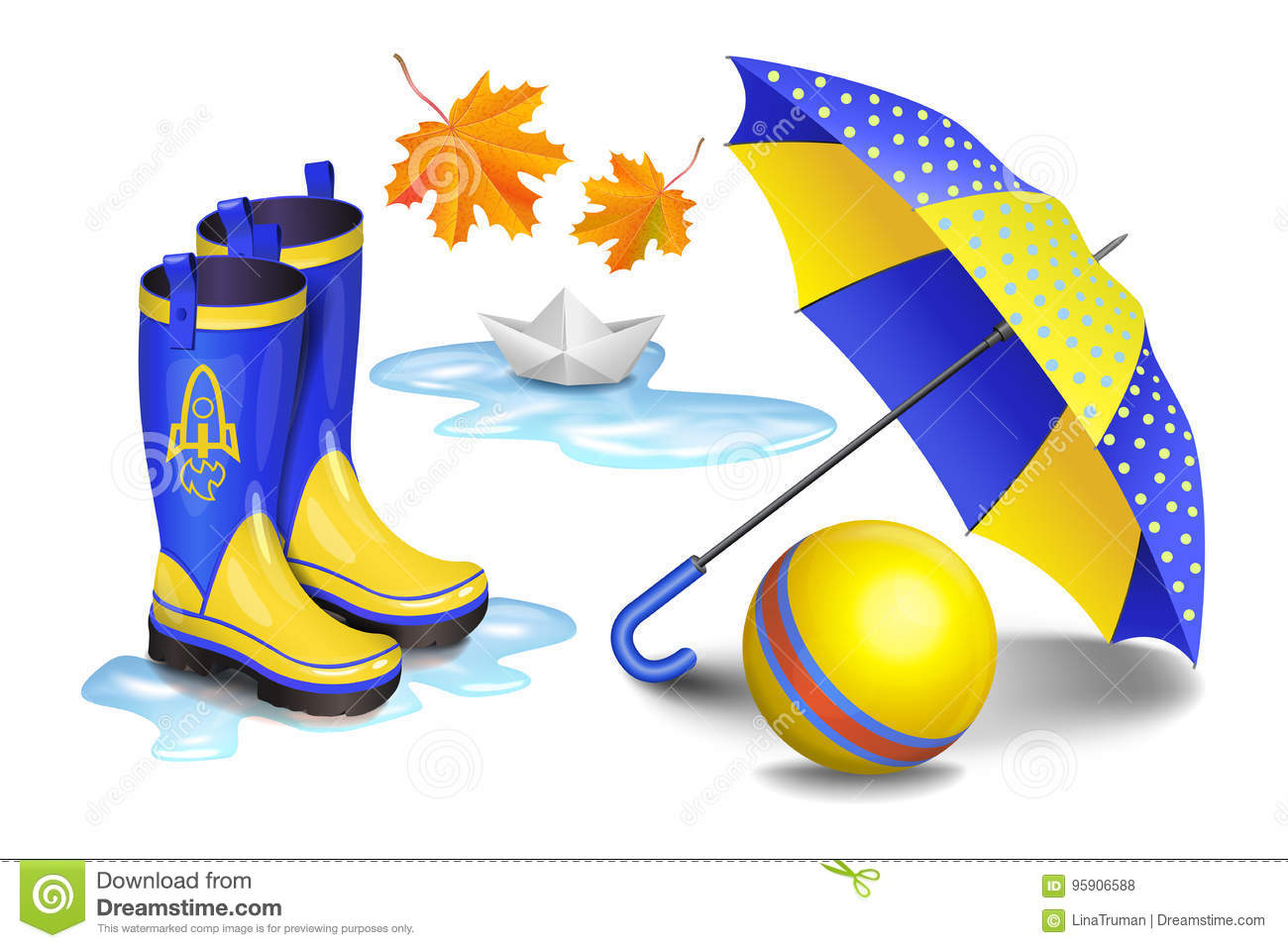 Blue-yellow gumboots,childrens umbrella, toy ball, falling leaves