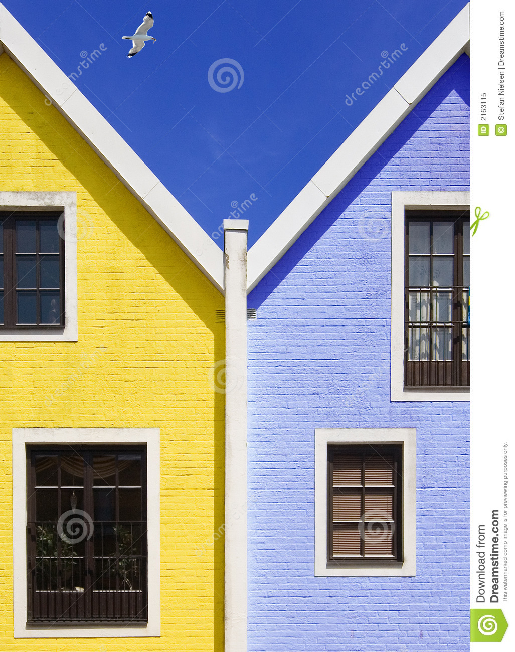 Blue and yellow houses