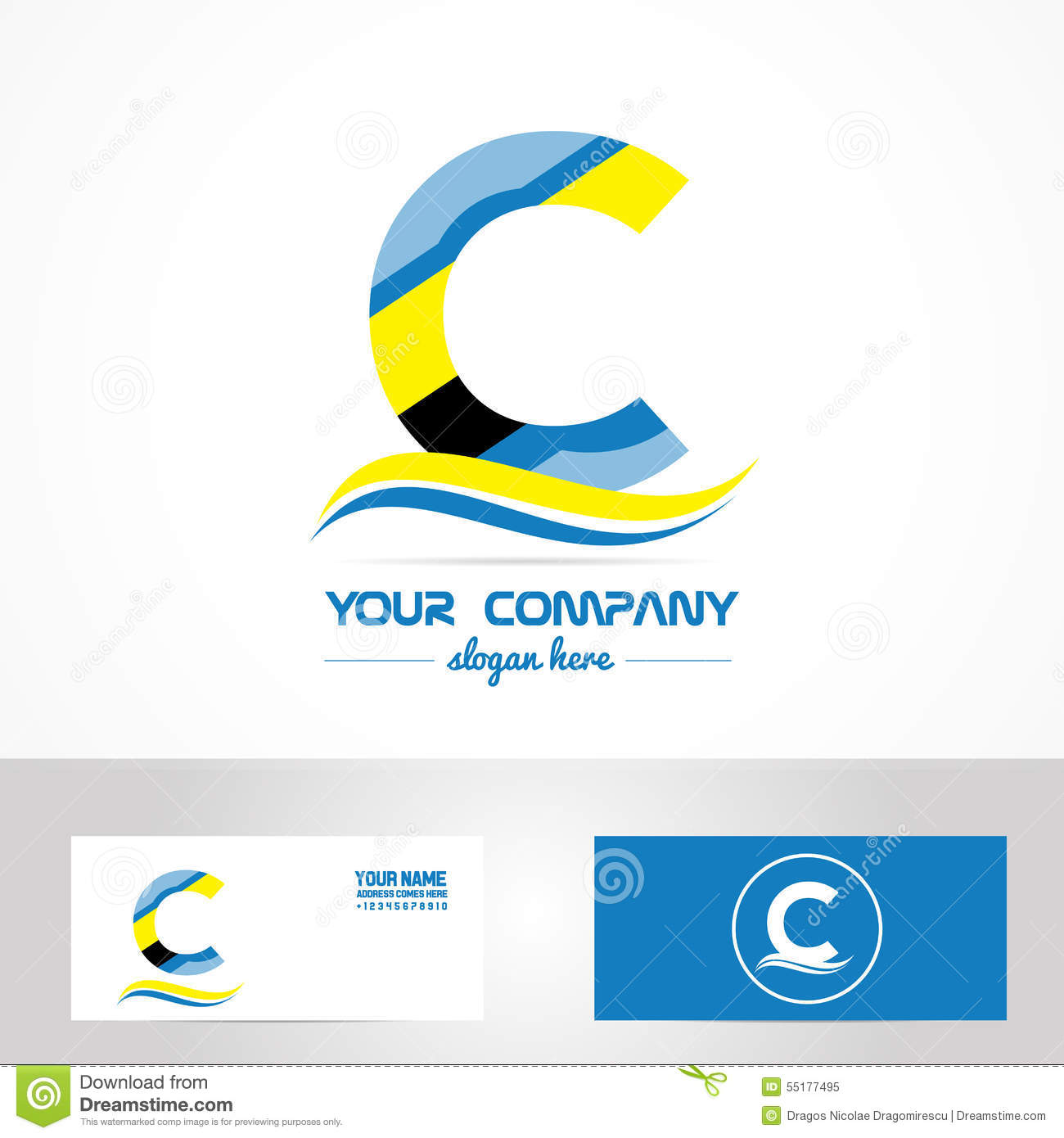 blue yellow letter c logo icon stock vector image 55177495