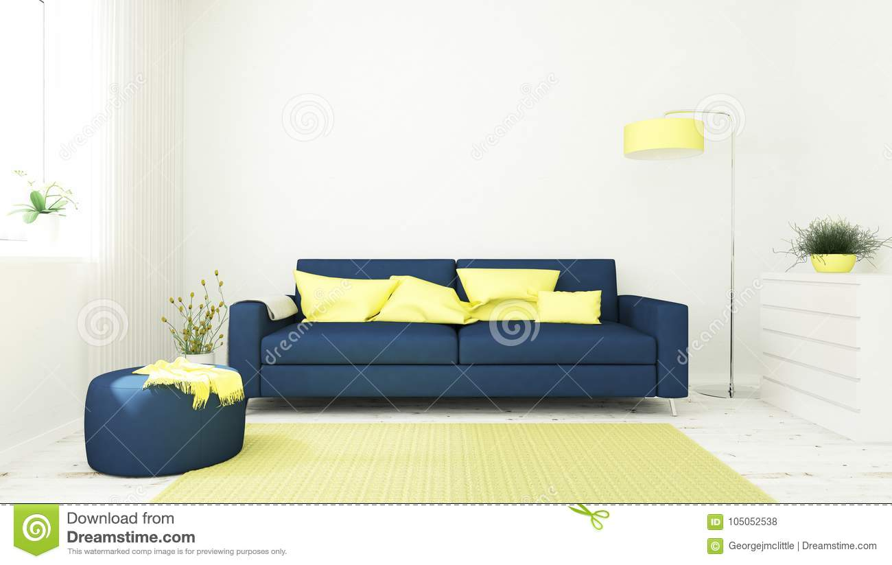 Blue And Yellow Living Room Stock Illustration - Illustration of ...