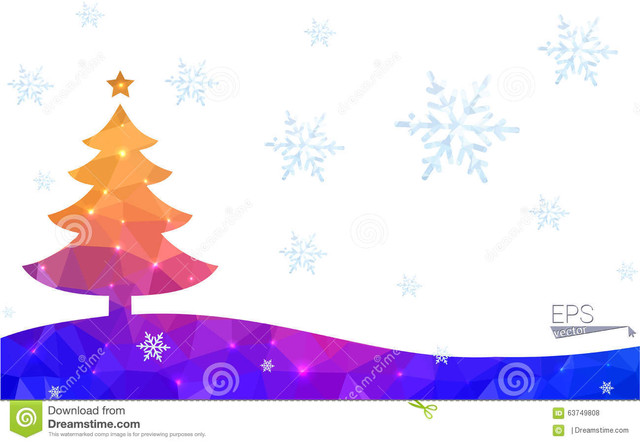 Blue yellow postcard low polygon style christmas tree for Red and yellow christmas tree