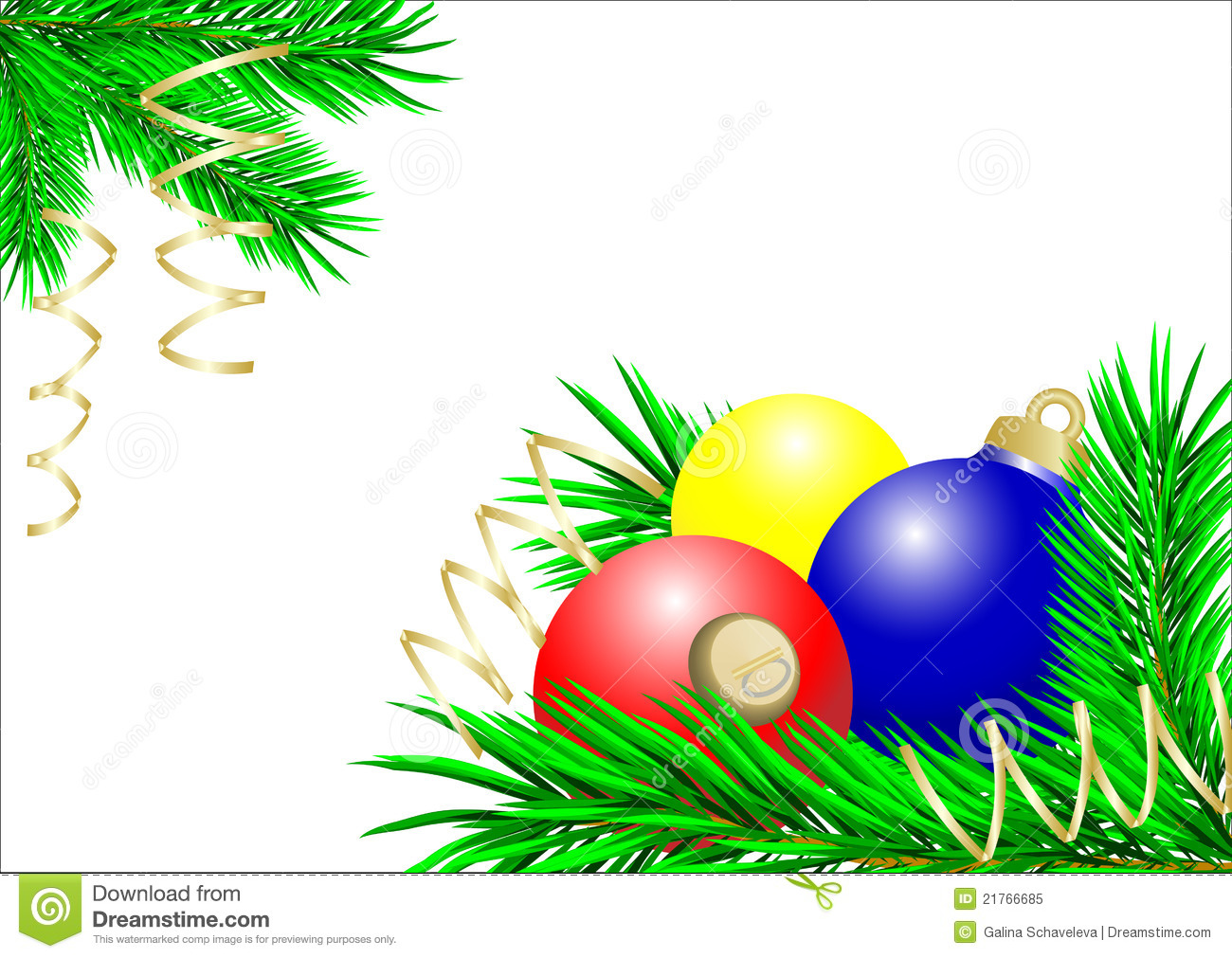 Blue yellow and red christmas balls royalty free stock for Red and yellow christmas tree
