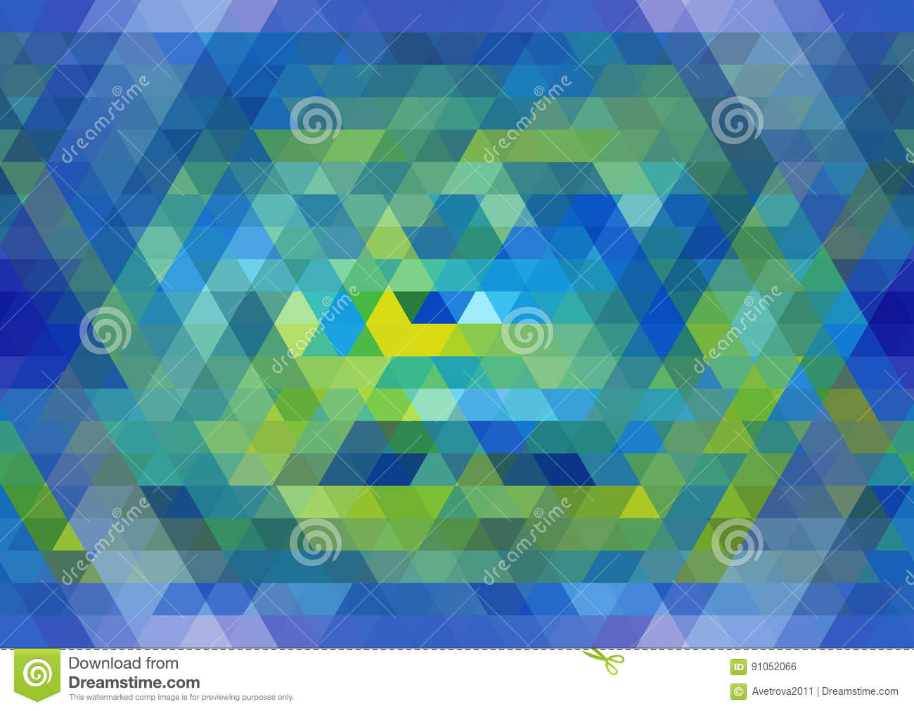 Blue and yellow seamless triangular pattern. Abstract geometric background. Vector