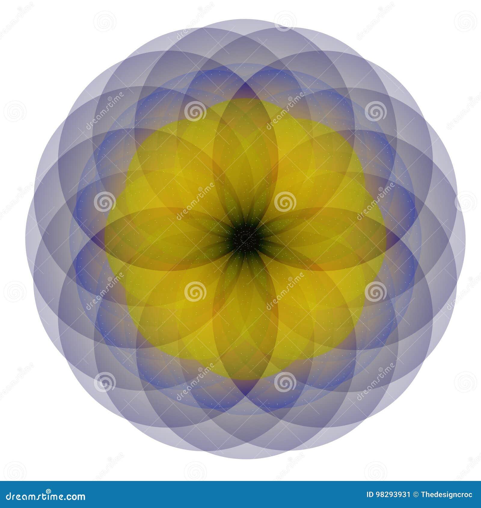 Blue Yellow Single Flower White Background Stock Vector