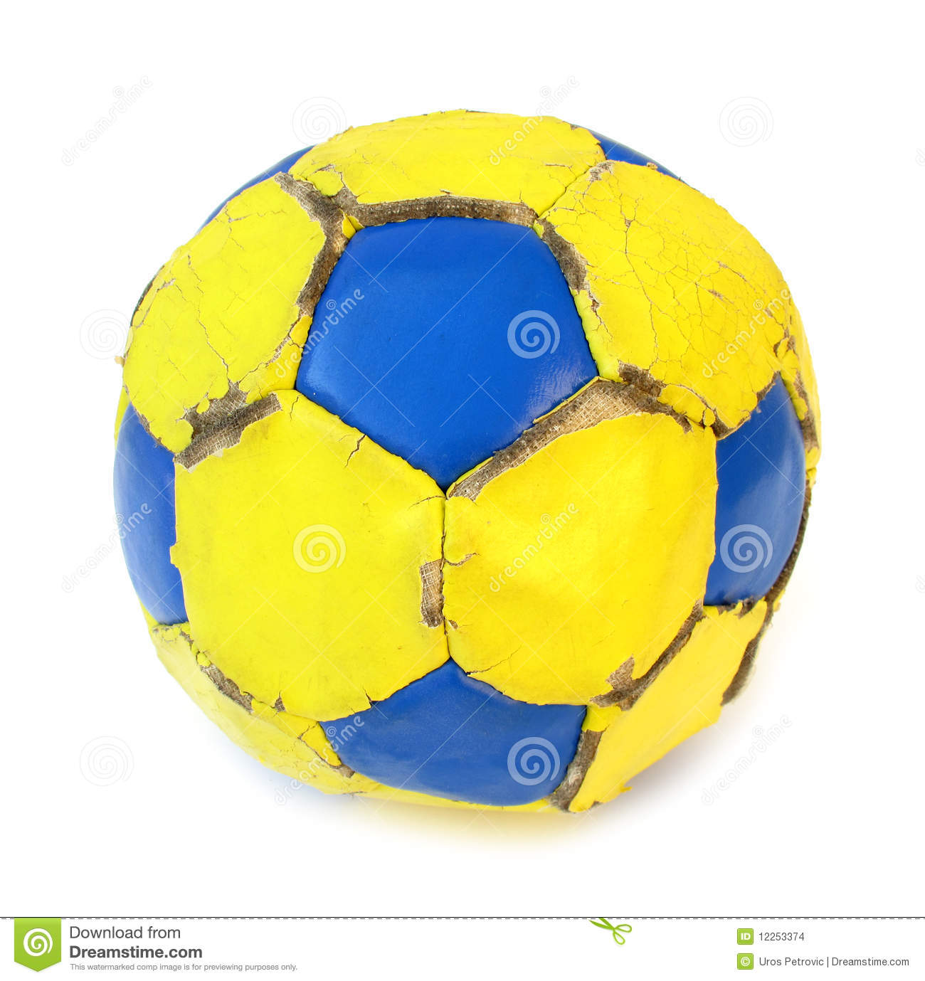 Blue and yellow soccer/football ball