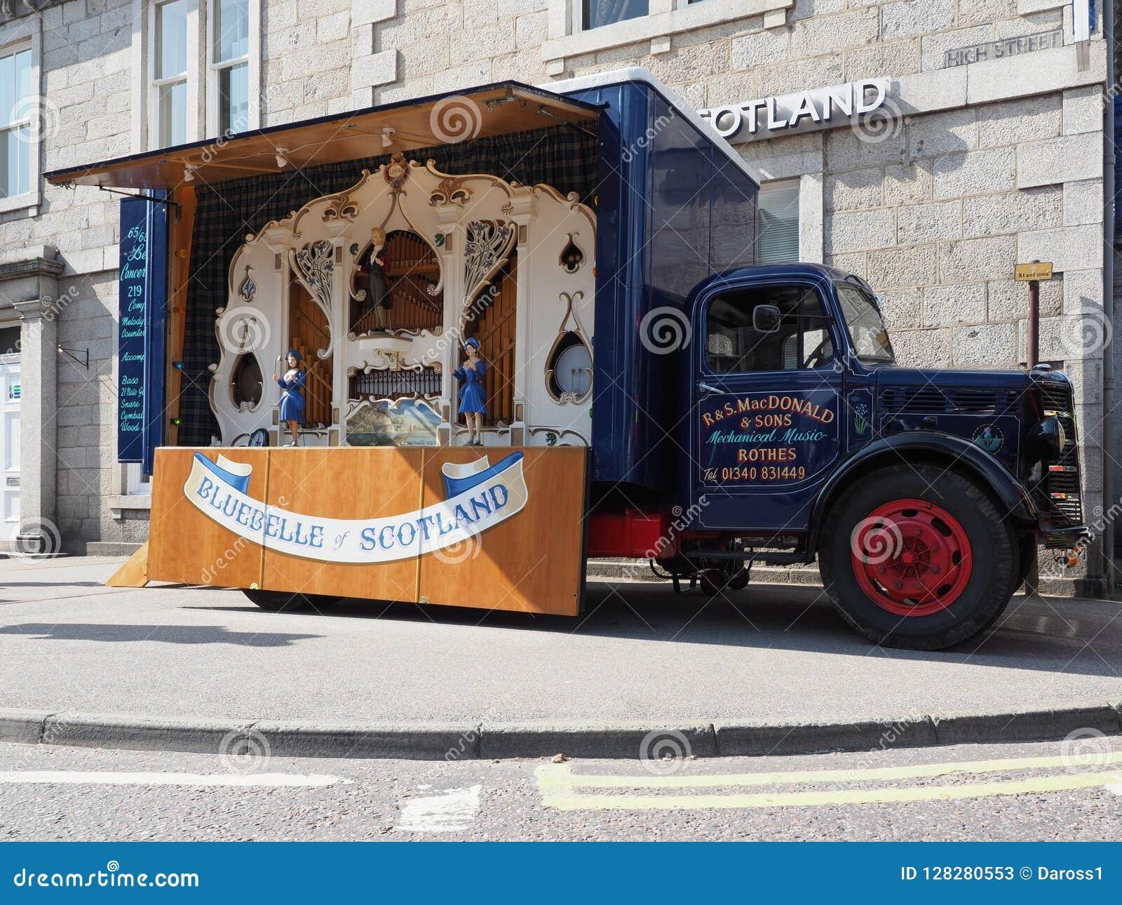 Bluebelle Organ-Weinlese-LKWs Schottlands des mechanischen
