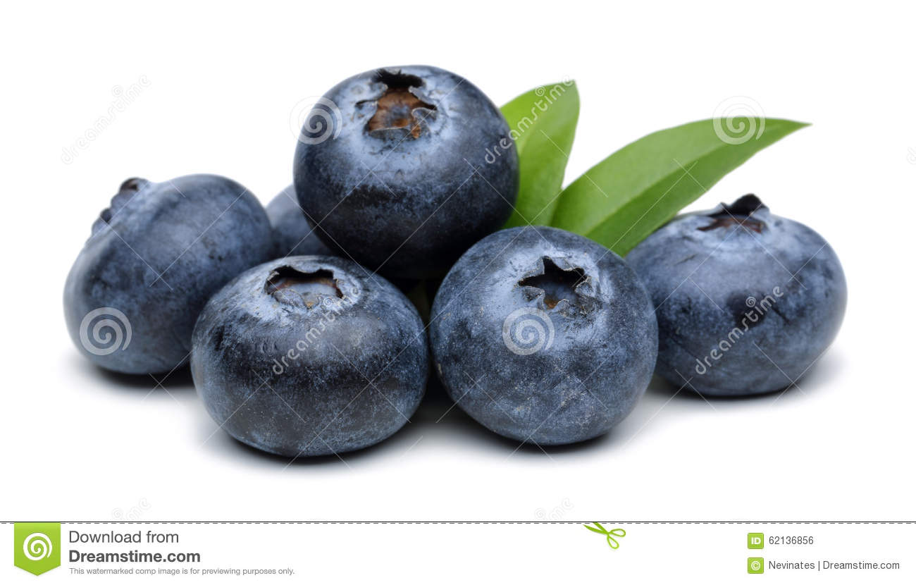 Blueberries in a wooden bowl isolated on white background