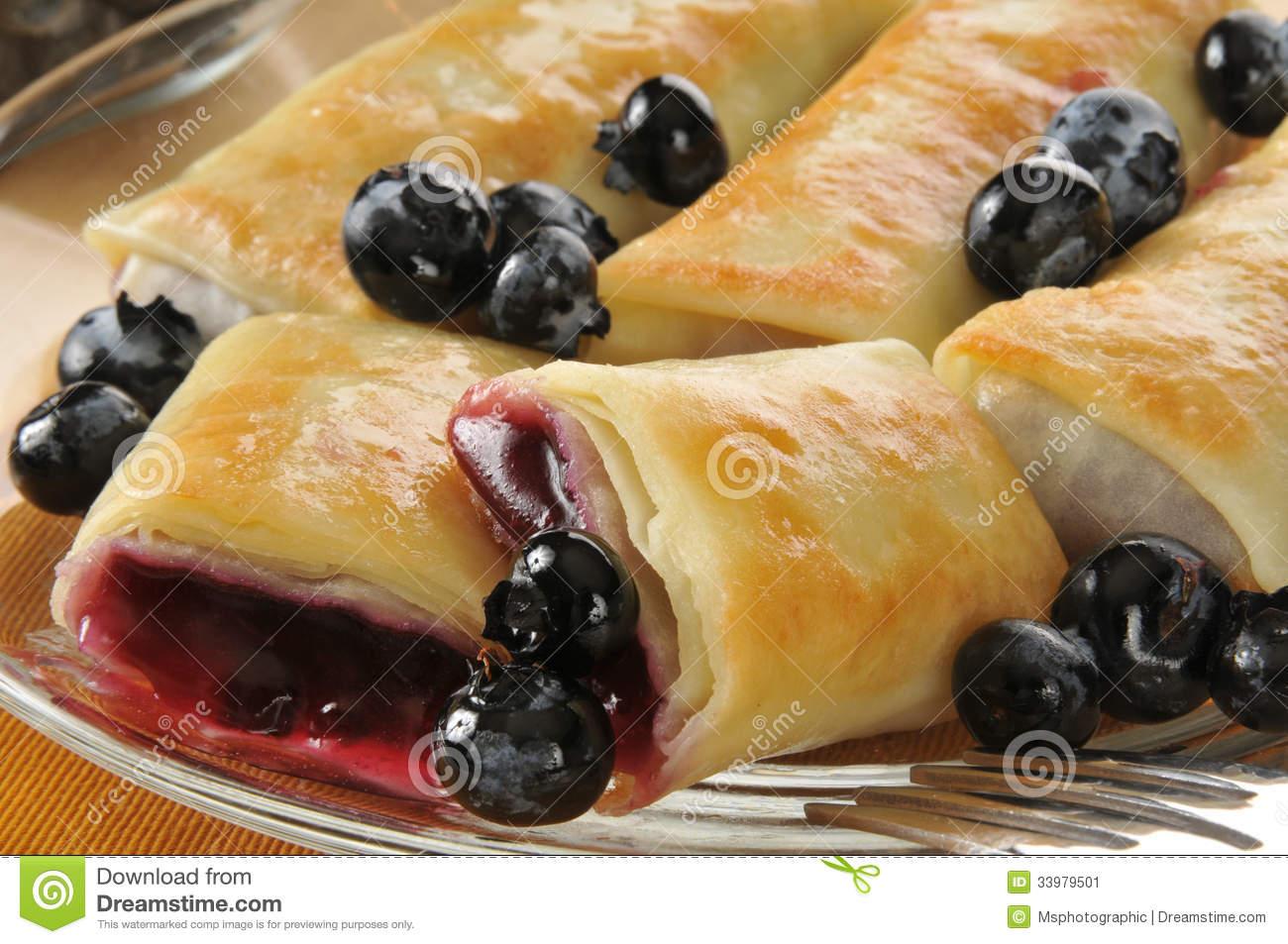 Blueberry Blintzes Closeup Stock Image - Image: 33979501