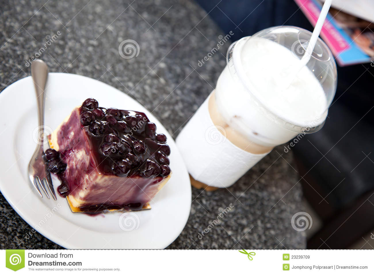 Blueberry Cake And Capuchino Ice Coffee Royalty Free Stock Images ...
