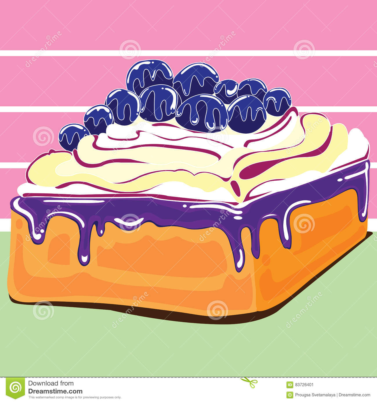Blueberry Cake Design Stock Vector Illustration Of Food 83726401