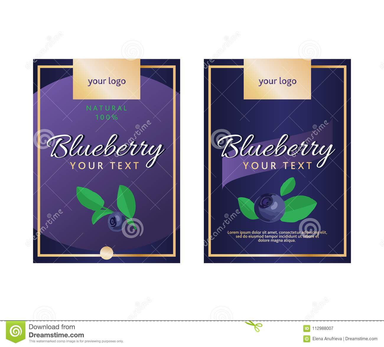 Vector set of product labels. Blueberry template for food packaging.