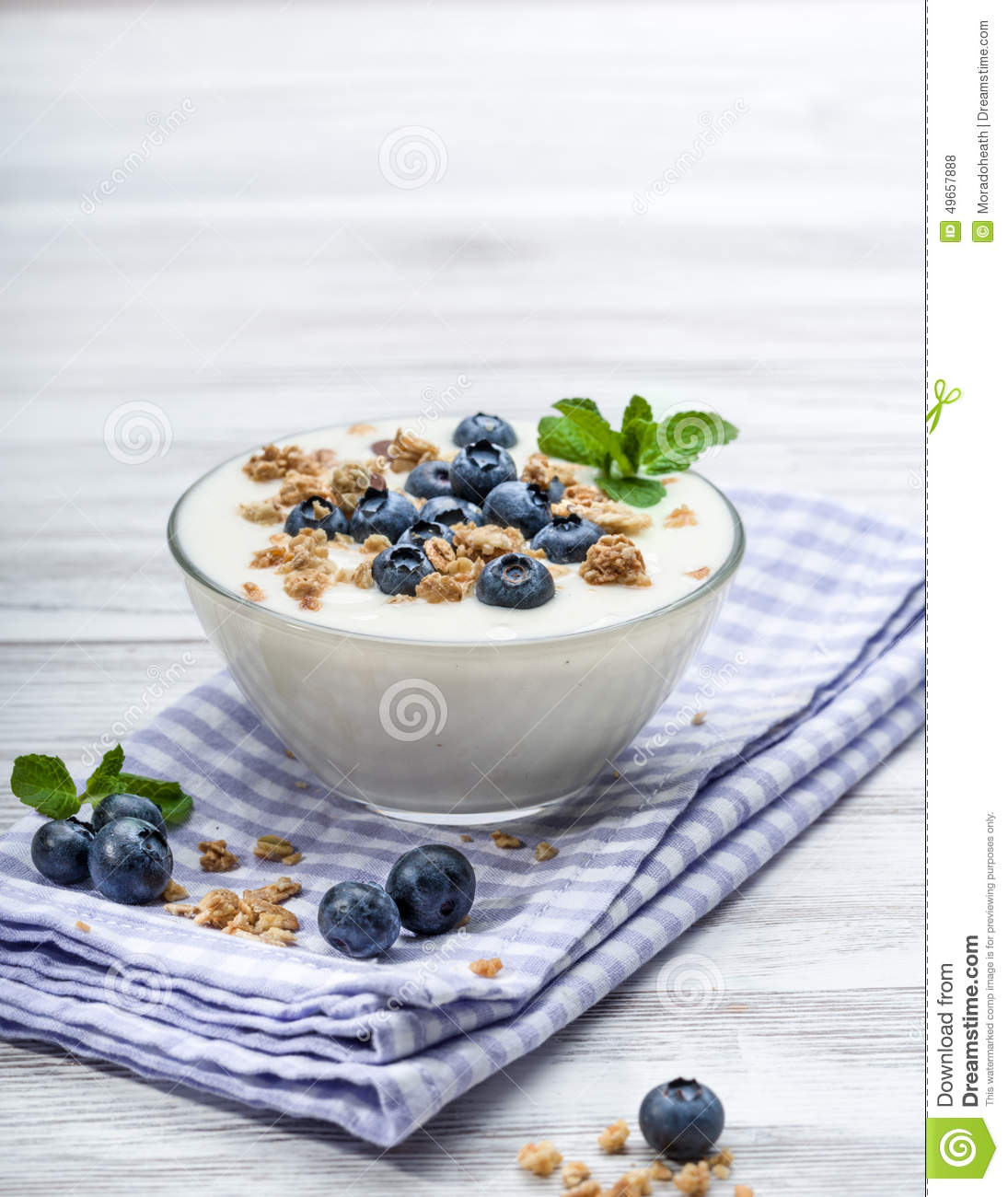 Fresh blueberry yogurt with granola and mint on a background.