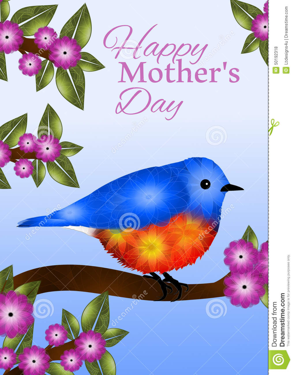 Bluebird Mothers Day Greeting Card Design Stock Illustration