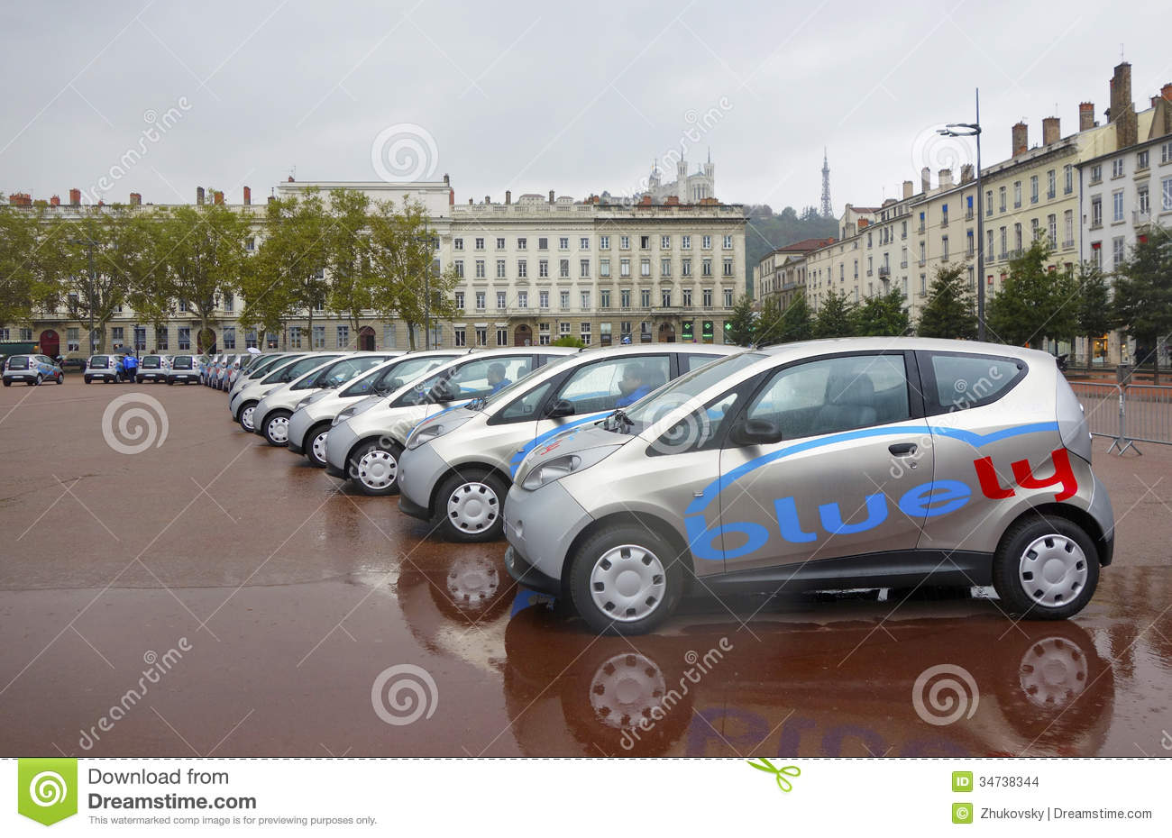 bluely full electric and open access car sharing service in lyon editorial stock image image. Black Bedroom Furniture Sets. Home Design Ideas