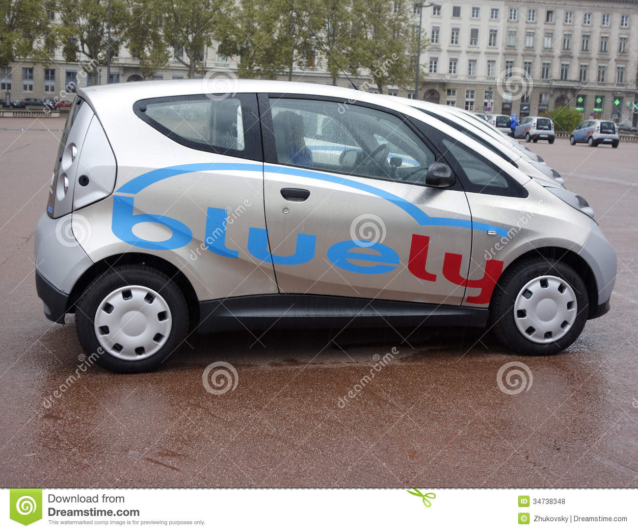 bluely full electric and open access car sharing service in lyon editorial stock photo image. Black Bedroom Furniture Sets. Home Design Ideas