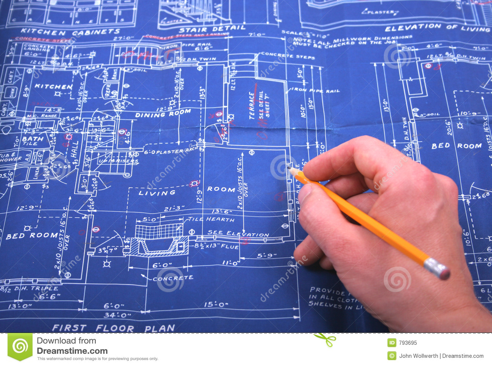 Blueprint stock image image of living plan room floor 793695 blueprint malvernweather Choice Image
