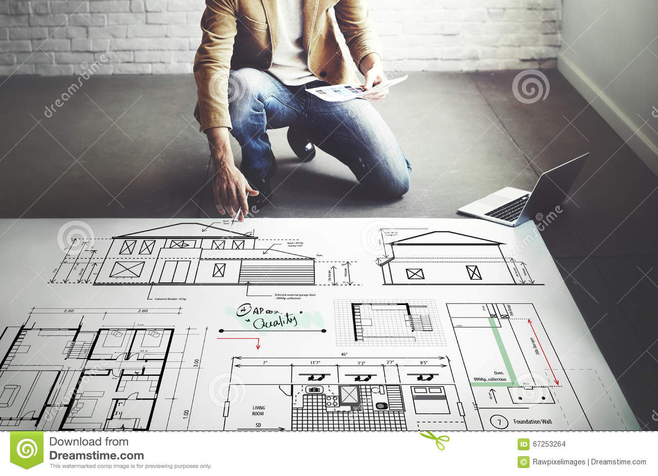Blueprint Architect Construction Project Sketch Concept Stock Photo
