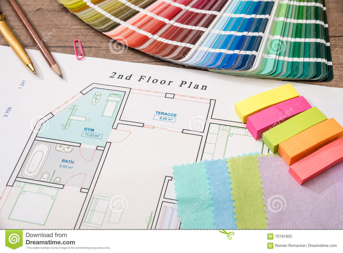 Blueprint Of Architectural Drawing And Color Palette Stock Photo