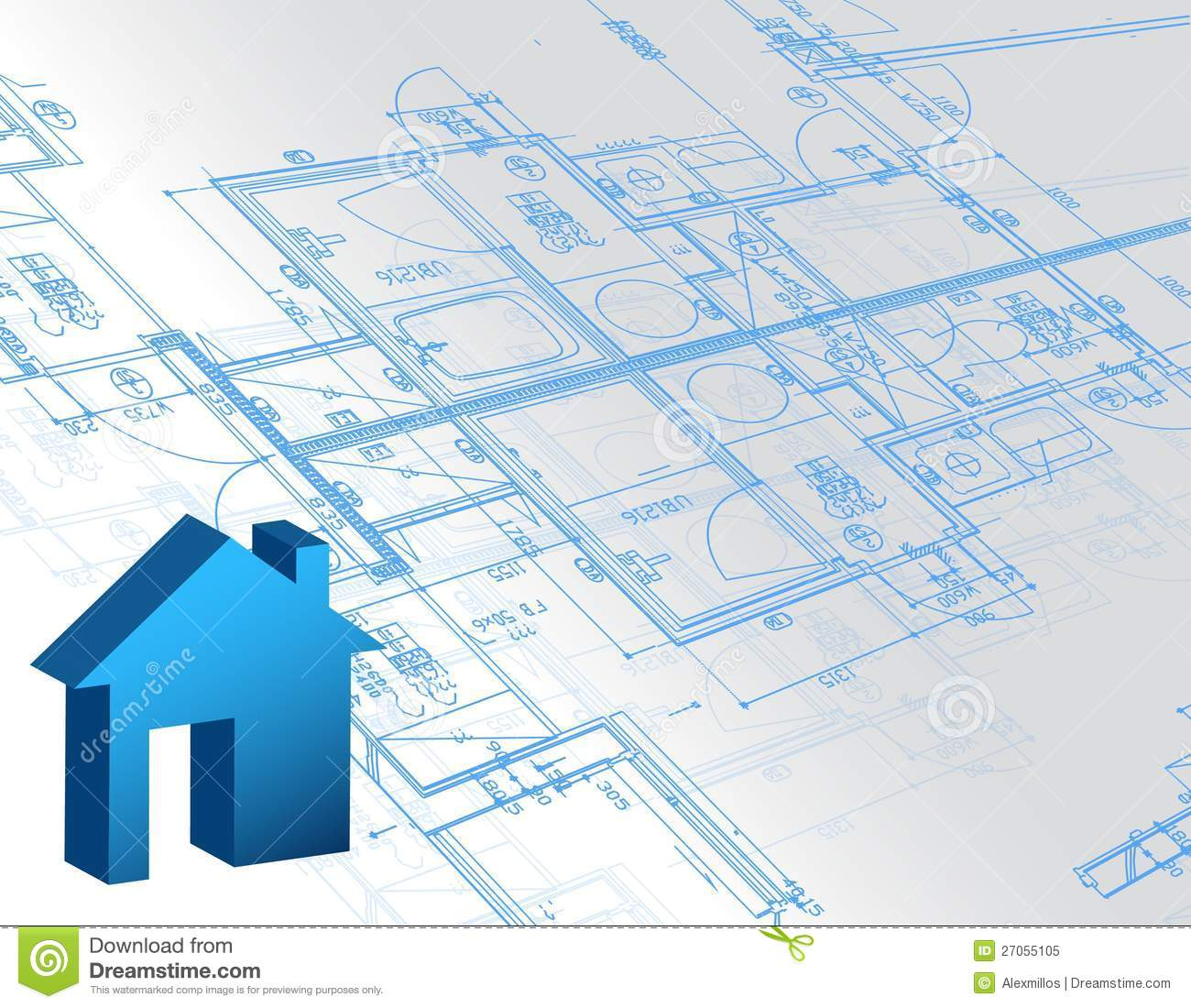 Blueprint architectural map and 3d house model royalty for House blueprint images