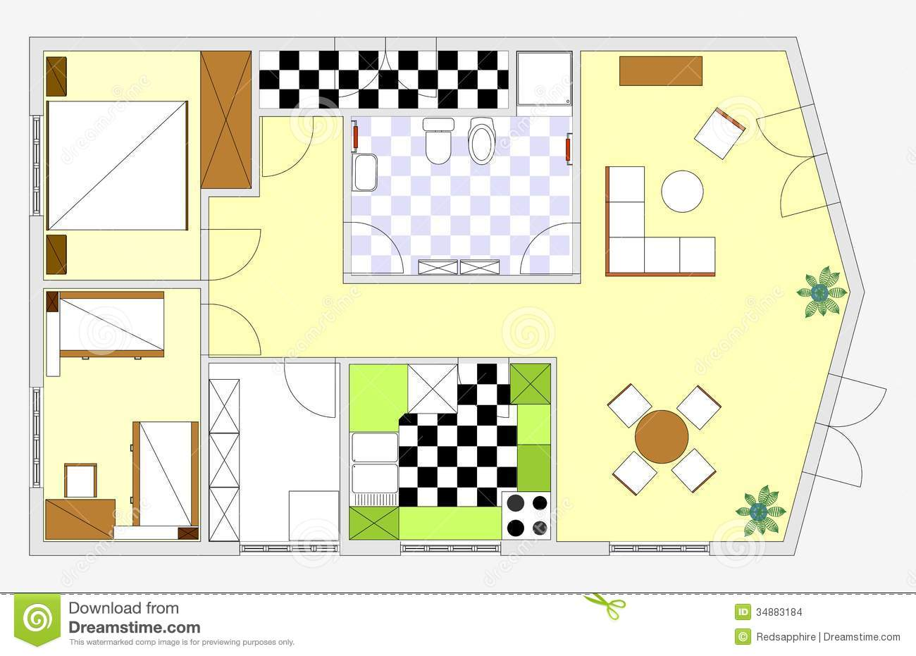Blueprint stock illustration image of house dining Blueprint of apartment building