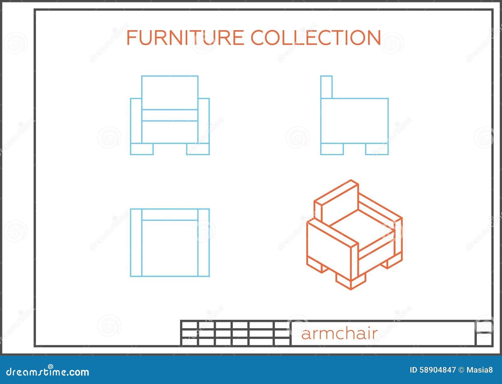Blueprint Of An Armchair Stock Illustration Image 58904847