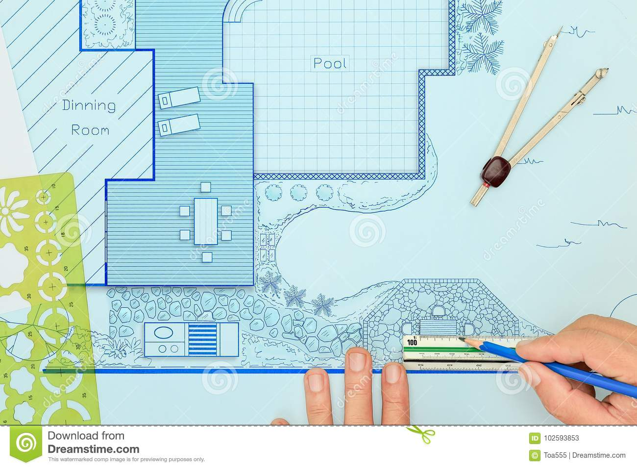 Blueprint Backyard Garden And Pool Design Plan. Stock Image ...