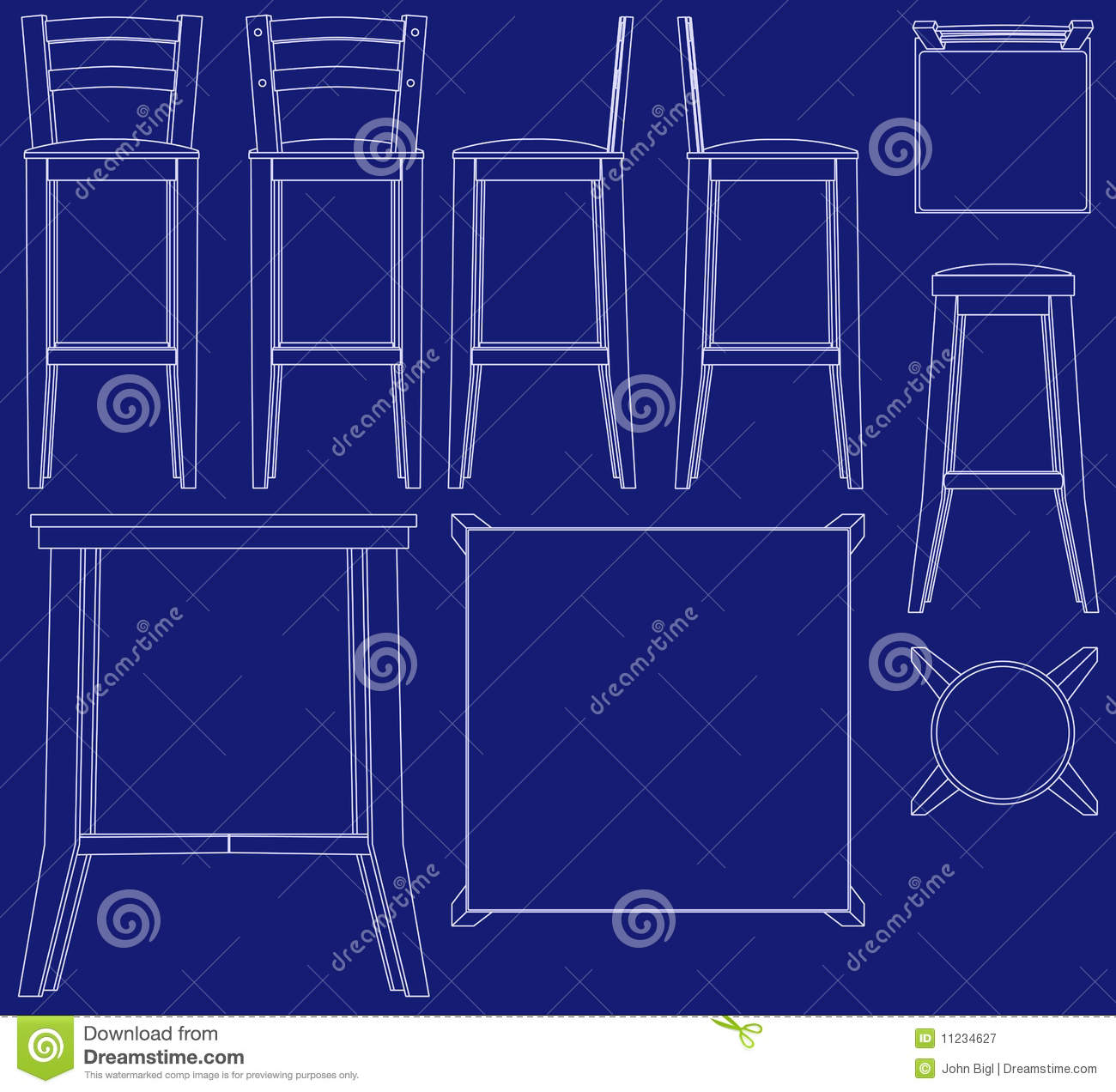 Blueprint bar furniture illustrations stock vector illustration of blueprint bar furniture illustrations malvernweather Choice Image