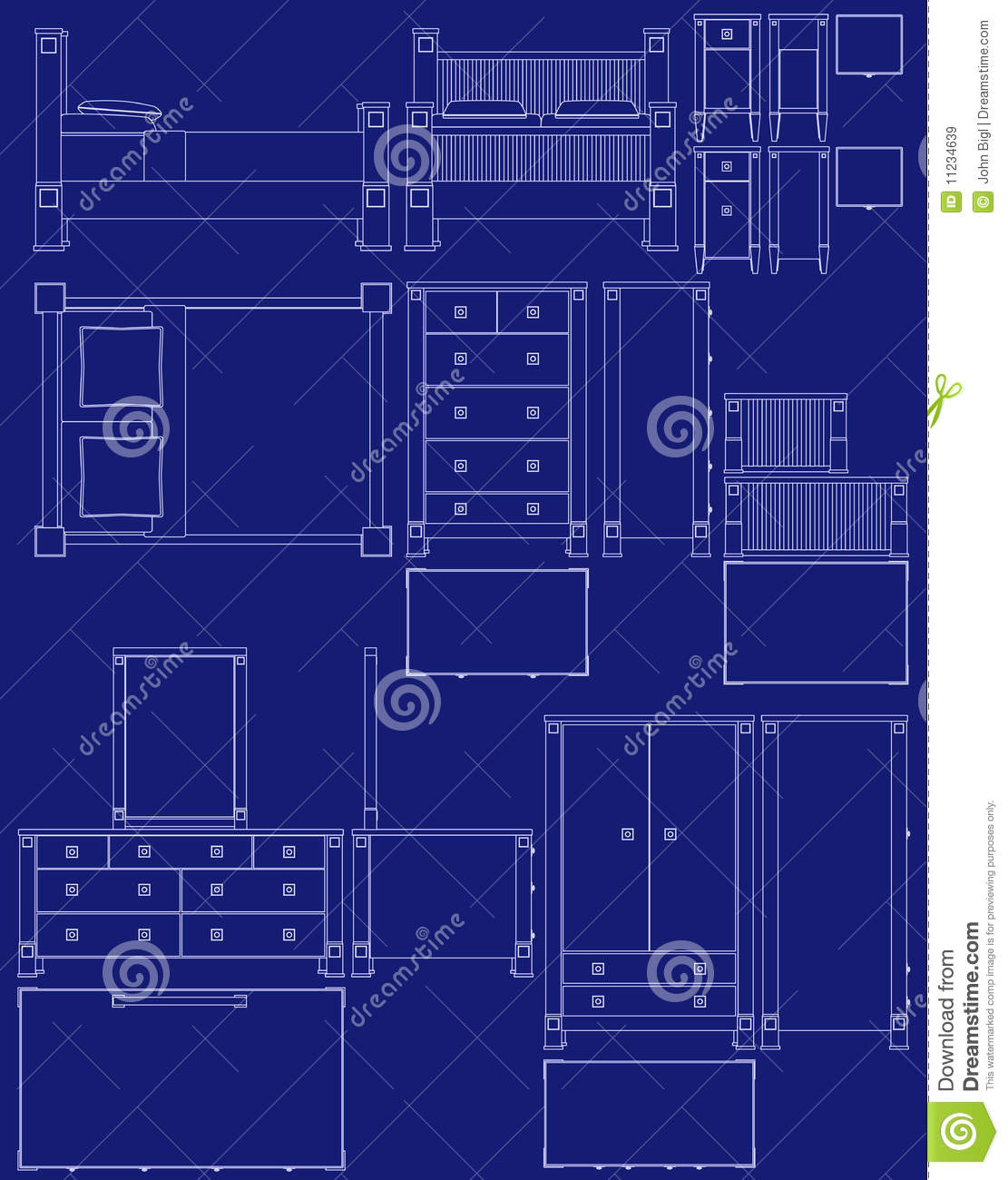 blueprint bedroom furniture stock vector image 11234639