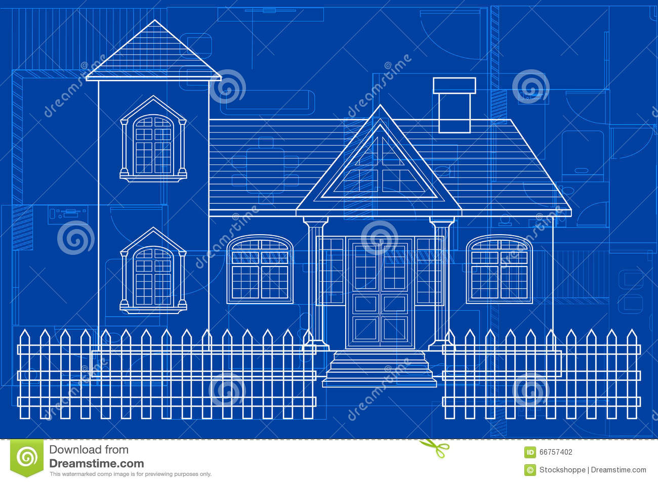 Blueprint of building stock vector image of digital for House building blueprints
