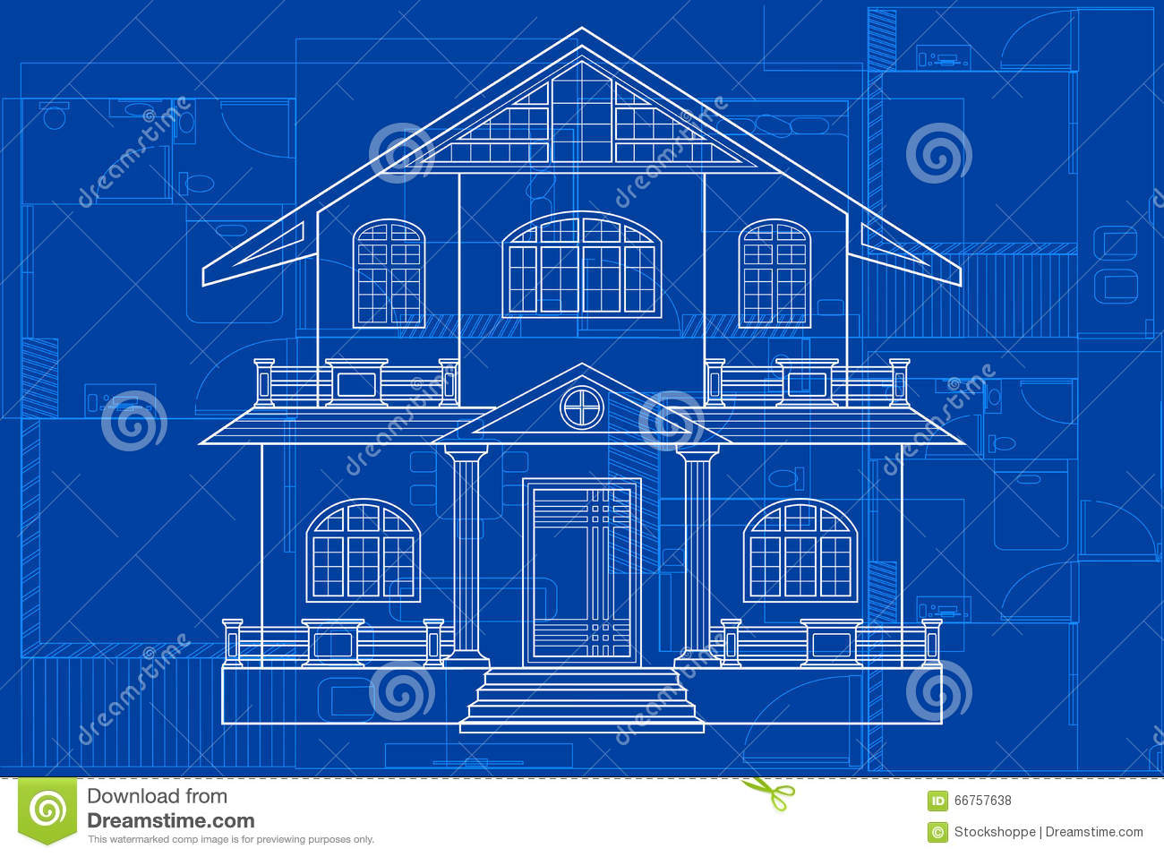 Blueprint Of Building Stock Vector Image 66757638