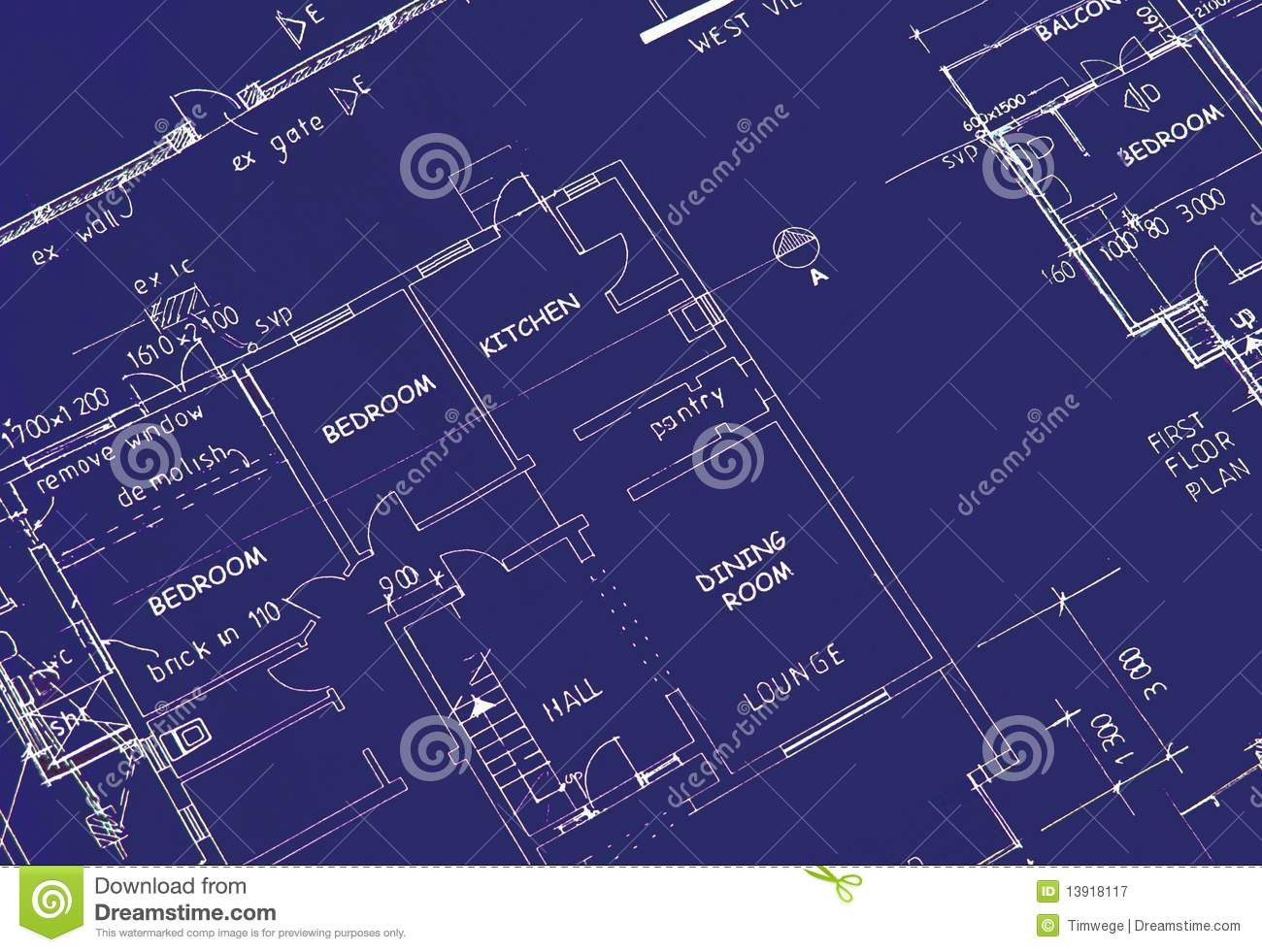 Blueprint Of Building Plans Stock Image Dining