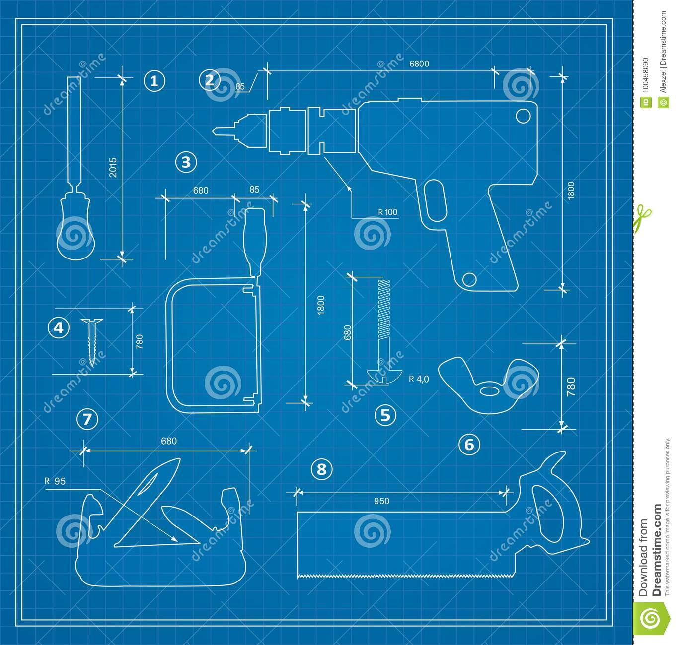 Blueprint building tool stock vector illustration of frame 100458090 blueprint building tool set drawing plan layout of industrial and home instrument for construction and repair malvernweather Choice Image