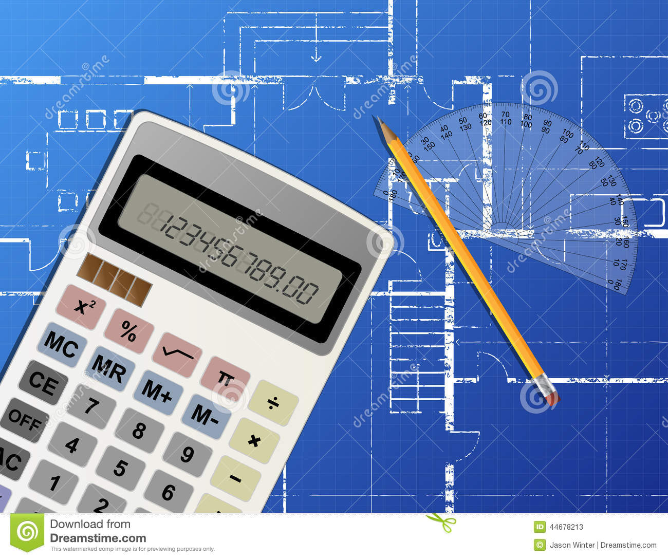 blueprint calculator stock vector image 44678213