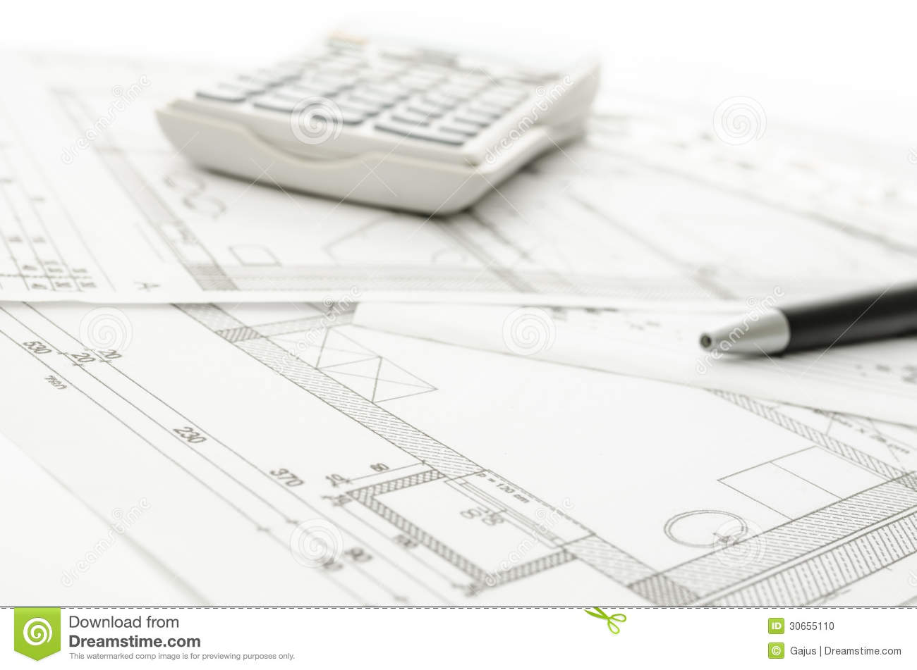 Blueprint With Calculator And Pen Stock Photo Image