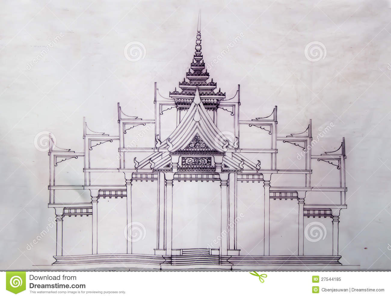 Blueprint church of temple stock image image of style 27544185 blueprint church of temple malvernweather Image collections