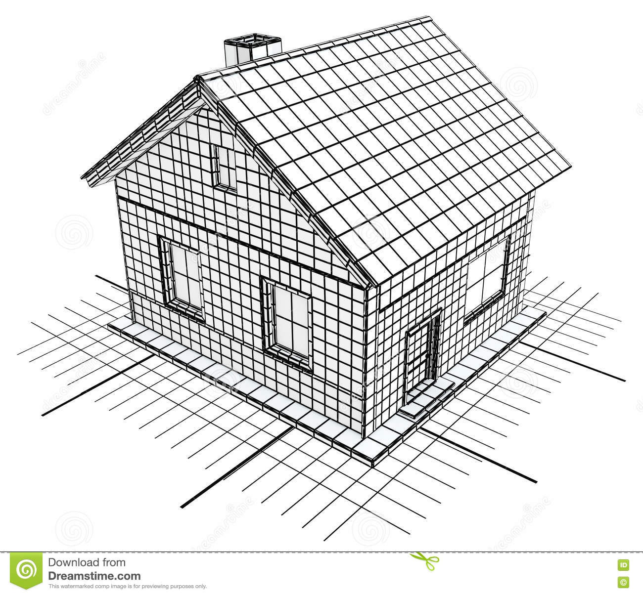 Blueprint cottage white stock illustration image 72402237 for Horizontal house plans