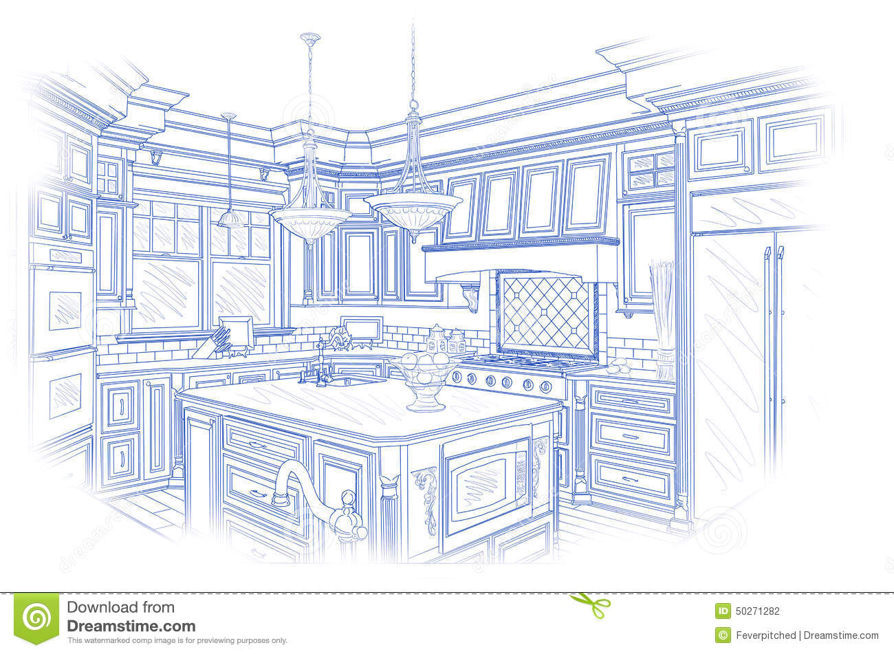 Blueprint custom kitchen design drawing on white stock for Custom blueprints