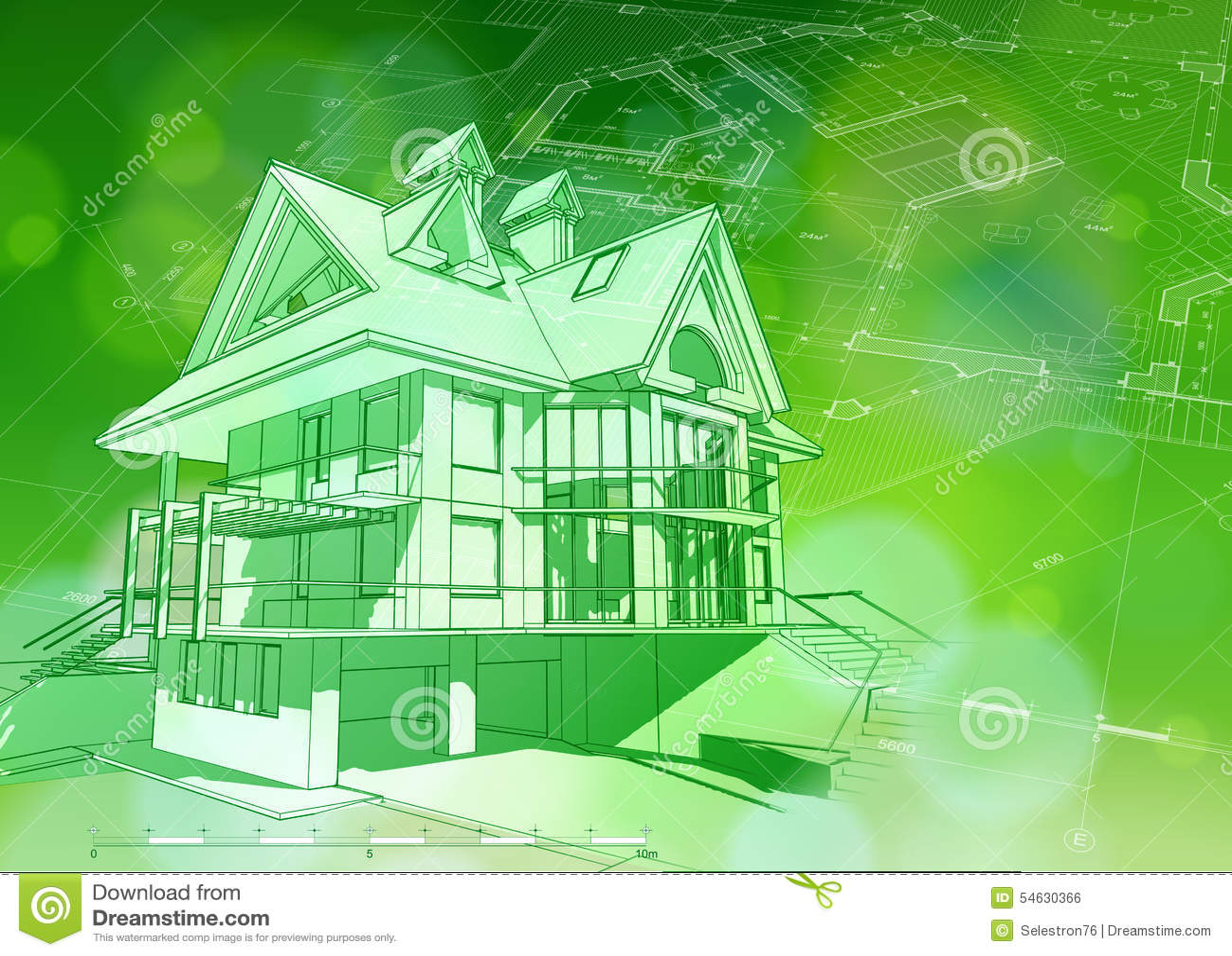 Blueprint 3d house plan green bokeh stock vector for Blueprint house design free