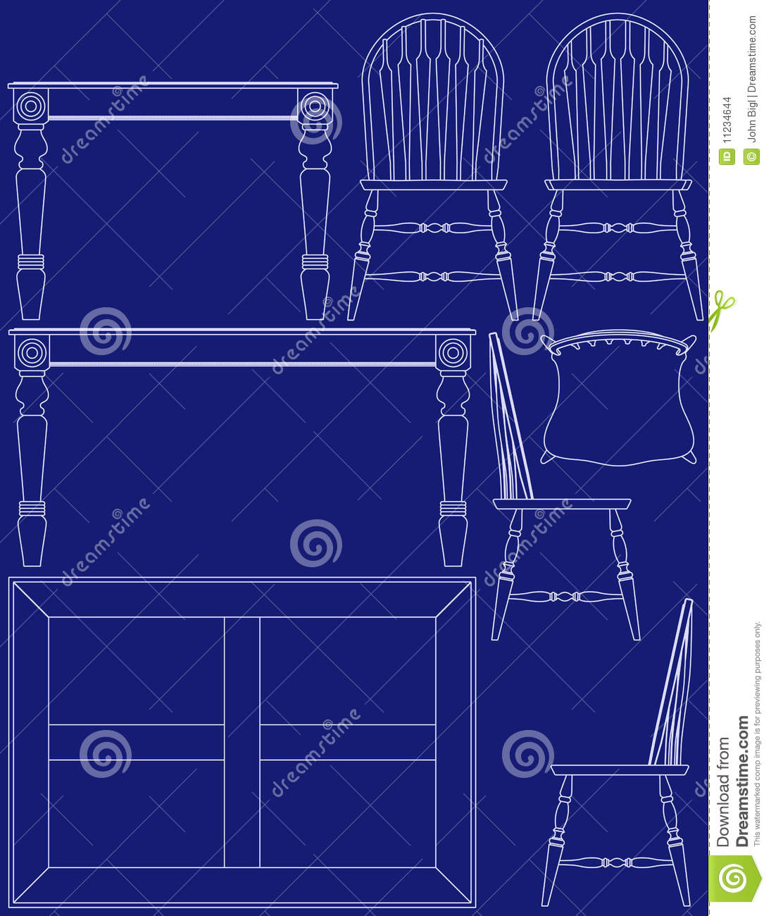 Blueprint dining room furniture stock vector illustration of download comp malvernweather Image collections