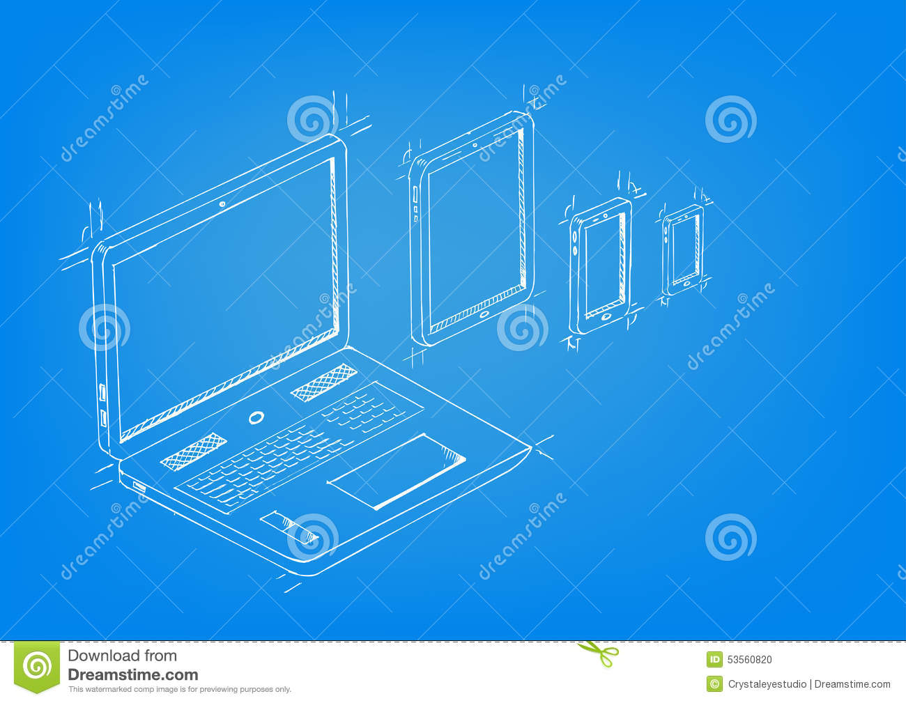 Mobile application concept sketch drawing vector stock vector blueprint drawing style concept artwork of laptop tablet mobile phones editable eps10 vector malvernweather